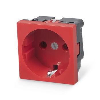 Cabeus ME45-RD Розетка электрическая Mosaic 45x45, нем. ст., 2K+3, 16A, красная (в сборе)