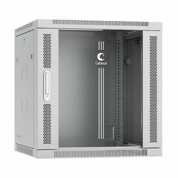 """Cabeus SH-05F-12U60/60-R Шкаф телекоммуникационный настенный разобранный 19"""" 12U 600x600x635mm (ШхГхВ) дверь стекло"""