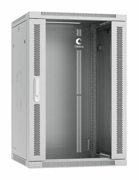 """Cabeus SH-05F-18U60/35-R Шкаф телекоммуникационный настенный разобранный 19"""" 18U 600x350x901mm (ШхГхВ) дверь стекло"""