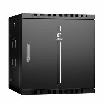 """Cabeus SH-05F-12U60/60m-R-BK Шкаф телекоммуникационный настенный разобранный 19"""" 12U 600x600x635mm (ШхГхВ) дверь металл, цвет черный (RAL 9004)"""