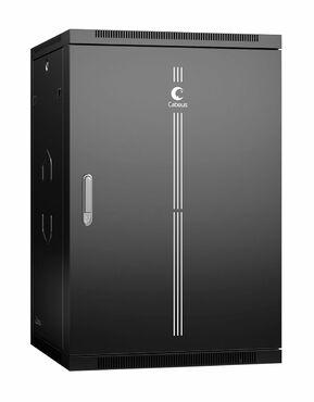 """Cabeus SH-05F-18U60/35m-R-BK Шкаф телекоммуникационный настенный разобранный 19"""" 18U 600x350x901mm (ШхГхВ) дверь металл, цвет черный (RAL 9004)"""