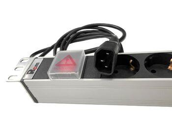 """Блок розеток Rem-10 с выкл., 8 Sсhuko, 10A, алюм., 19"""", шнур 1.8 м. IEC 60320 C14"""