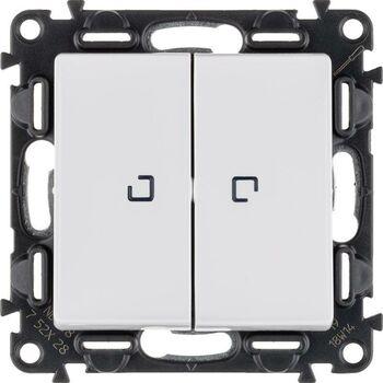 Механизм выключателя 2-кл. СП Valena Life 10А IP20 250В 10AX с подсветкой с лиц. панелью бел. Leg 752428