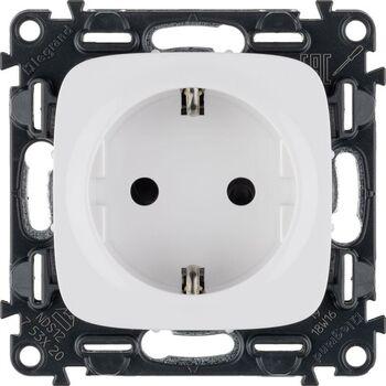Механизм розетки 1-м СП Valena Allure 16А IP20 250В 2P+E защ. шторки безвинт. клеммы с лицев. панелью бел. Leg 753720