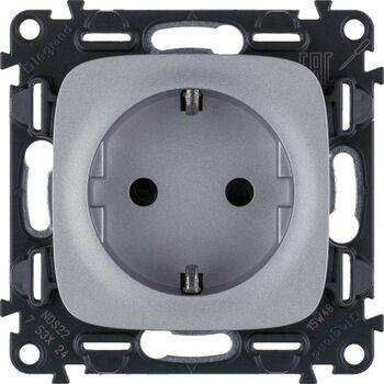 Механизм розетки 1-м СП Valena Allure 16А IP20 250В 2P+E винт. клеммы с лицев. панелью алюм. Leg 753924