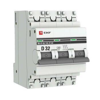 Выключатель автоматический модульный 3п D 32А 4.5кА ВА 47-63 PROxima EKF mcb4763-3-32D-pro