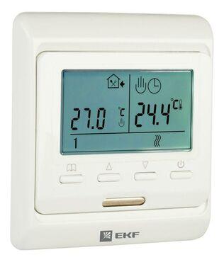Термостат программируемый ETT-1 (HW-500; RTC 51.716; R51XT; ST-16) 3.6кВт 16А для теплых полов датчик пола; датчик воздуха бел. EKF ett-1
