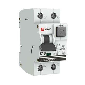 Выключатель автоматический дифференциального тока 1п+N 2мод. C 10А 30мА тип А 6кА АВДТ-63 (электромех.) PROxima EKF DA63-10-30
