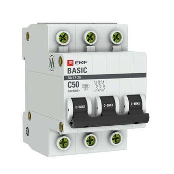 Выключатель автоматический модульный 3п C 50А 4.5кА ВА 47-29 Basic EKF mcb4729-3-50C