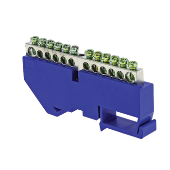 Шина нулевая N 6х9 14 отверст. цинк син. изолятор на DIN-рейку PROxima EKF sn1-63-14-d