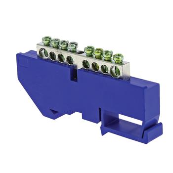Шина нулевая N 6х9 8 отверст. цинк син. изолятор на DIN-рейку PROxima EKF sn1-63-08-d