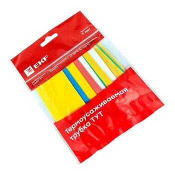 Набор трубок термоусадочных ТУТ нг тонкостен. 20/10 (7 цветов по 3шт 100мм) EKF tut-n-20