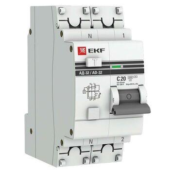Выключатель автоматический дифференциального тока 1п+N 2мод. C 20А 30мА тип AC 4.5кА АД-32 PROxima EKF DA32-20-30-pro