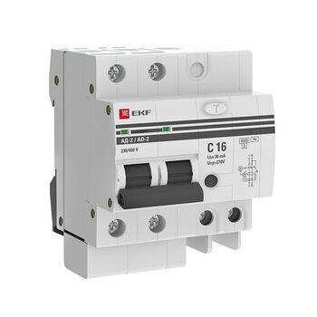 Выключатель автоматический дифференциального тока 2п 4мод. C 16А 30мА тип AC 4.5кА АД-2 PROxima EKF DA2-16-30-pro
