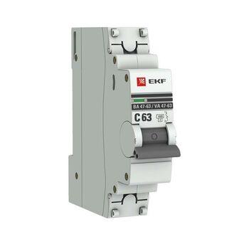 Выключатель автоматический модульный 1п C 63А 4.5кА ВА 47-63 PROxima EKF mcb4763-1-63C-pro