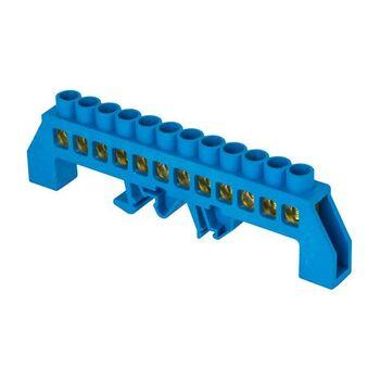 Шина нулевая N 8х12 12 отвер. латунь син. нейлоновый корпус комбинированный PROxima EKF sn0-125-12-dn