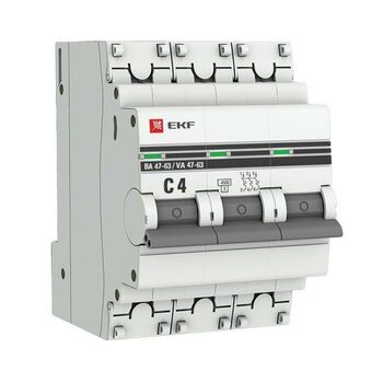 Выключатель автоматический модульный 3п C 4А 4.5кА ВА 47-63 PROxima EKF mcb4763-3-04C-pro