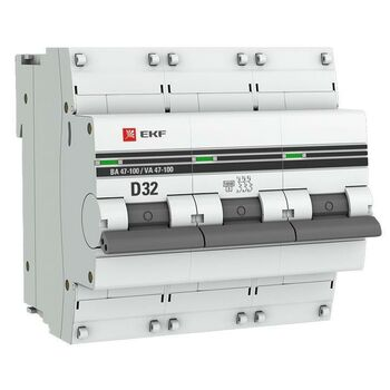 Выключатель автоматический модульный 3п D 32А 10кА ВА 47-100 PROxima EKF mcb47100-3-32D-pro