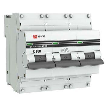 Выключатель автоматический модульный 3п C 100А 10кА ВА 47-100 PROxima EKF mcb47100-3-100C-pro