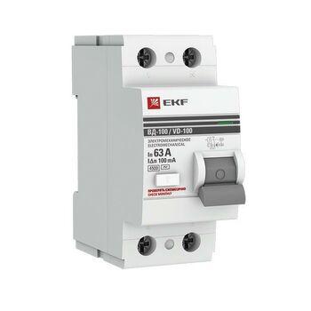 Выключатель дифференциального тока (УЗО) 2п 63А 100мА тип AC ВД-100 (электромех.) PROxima EKF elcb-2-63-100-em-pro