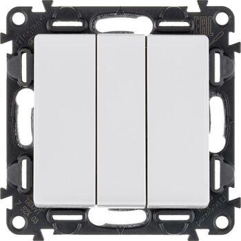 Механизм выключателя 3-кл. СП Valena Life 10А IP20 250В 10AX с лиц. панелью винт. зажимы бел. Leg 752403