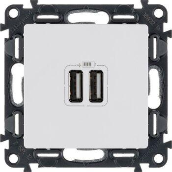 Механизм розетки USB Valena Life 2 разъема 240В/5В 2400мА с лиц. панелью бел. Leg 753412