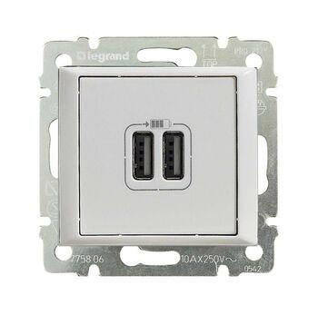 Механизм розетки 1-м USB 2мод. СП Valena бел. (DIY-упак.) Leg 694370