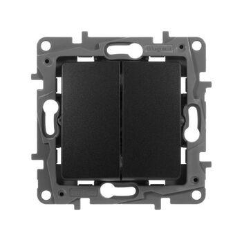 Механизм выключателя 2-кл. СП Etika 10А IP20 250В 10AX авт. зажимы антрацит Leg 672602