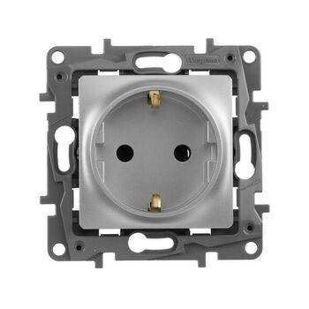 Механизм розетки 1-м СП Etika 16А IP20 250В 2P+E с заземл. немецк. стандарт винт. клеммы алюм. Leg 672421