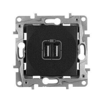 Механизм розетки USB 1-м СП Etika 2мод. 240В/5В 2400мА антрацит Leg 672694