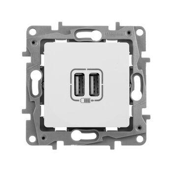 Механизм розетки USB 1-м СП Etika 2мод. 240В/5В 2400мА бел. Leg 672294
