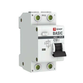 Выключатель автоматический дифференциального тока 1п+N C 10А 30мА тип AC 4.5кА АД-12 Basic EKF DA12-10-30-bas