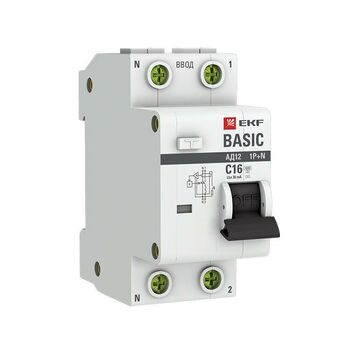 Выключатель автоматический дифференциального тока 1п+N C 16А 30мА тип AC 4.5кА АД-12 Basic EKF DA12-16-30-bas