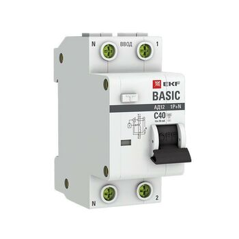 Выключатель автоматический дифференциального тока 1п+N C 40А 30мА тип AC 4.5кА АД-12 Basic EKF DA12-40-30-bas