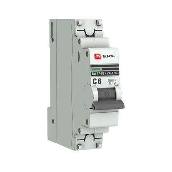 Выключатель автоматический модульный 1п C 6А 4.5кА ВА 47-63 PROxima EKF mcb4763-1-06C-pro