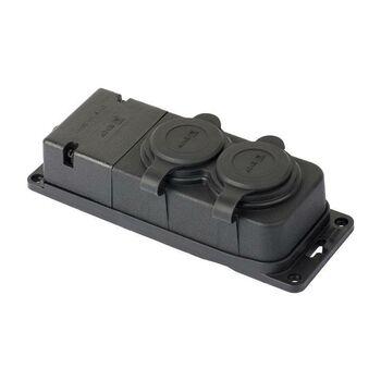 Розетка 2-м 16А IP44 2P+PE 230В с защ. крышками каучук PROxima EKF RPS-018-16-230-44-r