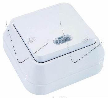 Выключатель проходной 1-кл. ОП 10А IP20 с подсветкой бел. Makel 45125