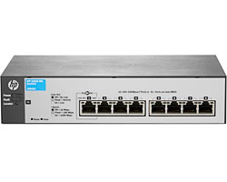 HP J9802A#ABB 1810-8G Коммутатор (8 ports 10/100/1000, WEB-managed, fanless, desktop, can be powered with PoE) (repl. for J9449A, JD865A)