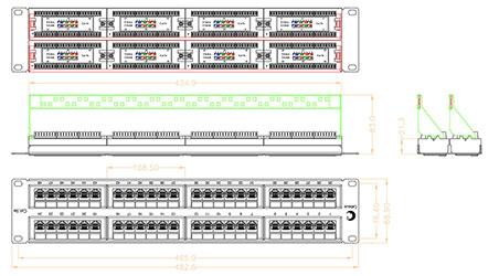Патч-панель 19 (2U), 48 портов RJ-45, категория 5e, Dual IDC, с задним кабельным организатором.<br />Чертеж патч-панели.