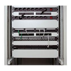 Патч-панель 19 (2U), 48 портов RJ-45, категория 5e, Dual IDC, с задним кабельным организатором.<br />Пример монтажа.