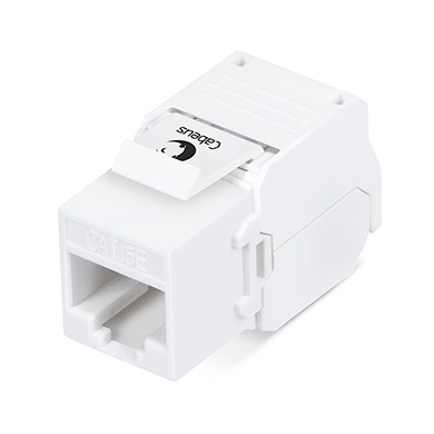 Cabeus KJ-RJ45-Cat.5e-180-Toolless Вставка Keystone Jack RJ-45(8P8C), 180 градусов, категория 5e, без инструмента Toolless, белая