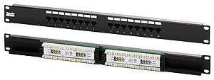 "Hyperline PP2-19-16-8P8C-C5e-110D Патч-панель 19"", 1U, 16 портов RJ-45, категория 5e, Dual IDC"