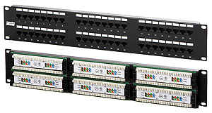 "Hyperline PP2-19-48-8P8C-C5e-110D Патч-панель 19"", 2U, 48 портов RJ-45, категория 5e, Dual IDC"