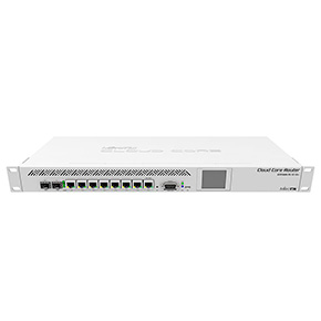 Mikrotik CCR1009-7G-1C-1S+ Маршрутизатор with Tilera Tile-Gx9 CPU (9-cores, 1.2Ghz per core), 2GB RAM, 7xGbit LAN, 1x Combo port (1xGbit LAN or SFP), 1x SFP+ cage, RouterOS L6, 1U rackmount case, Dual PSU, LCD pa